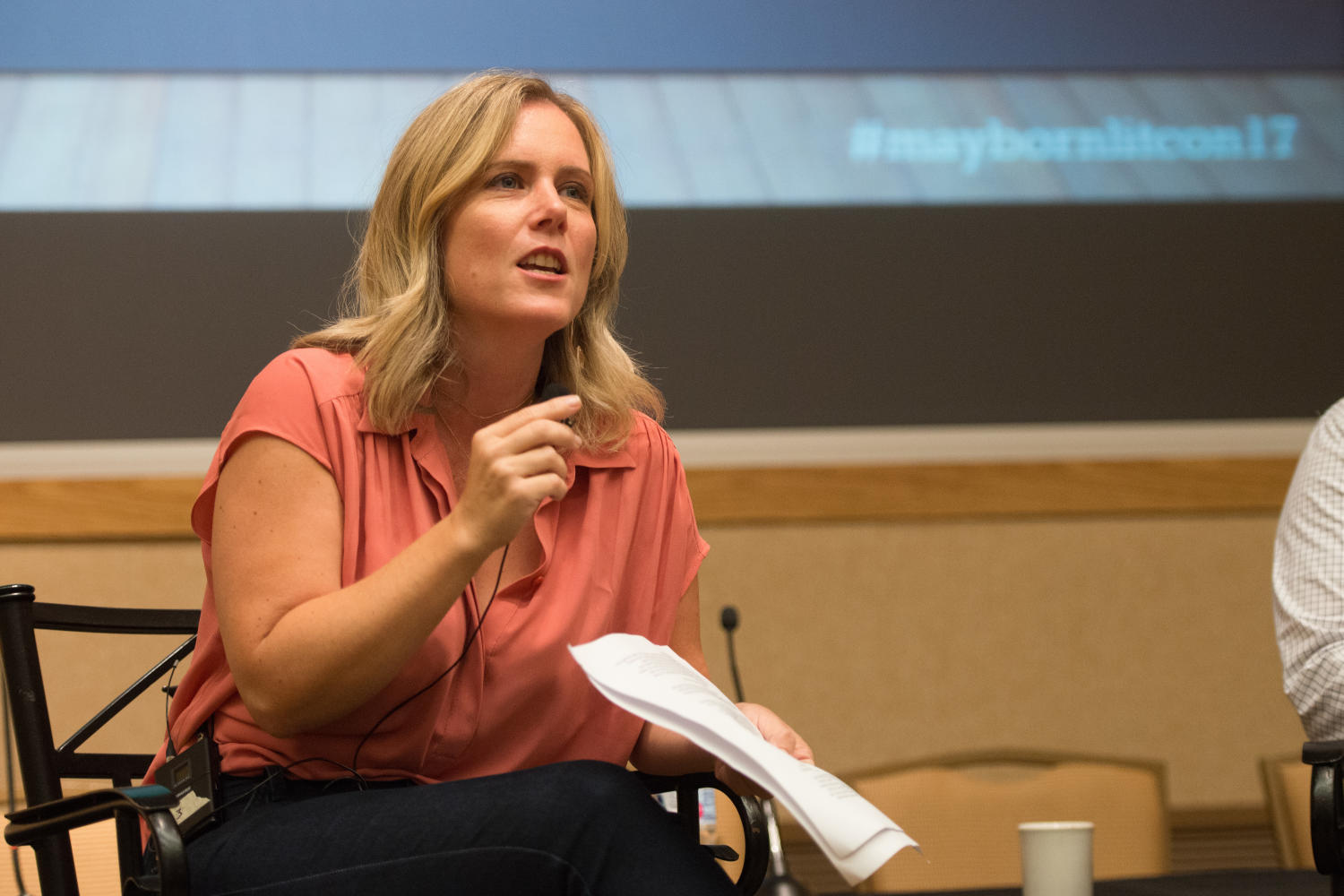 """[Sarah Hepola speaking on """"Personal Perspective or Navel Gazing?"""" panel], Photograph of Sarah Hepola, author of """"Blackout: Remembering the Things I Drank to Forget"""" and essays published in several magazines, speaking to the audience during the """"Personal Perspective or Navel Gazing?"""" panel. The event was held during the 2017 Mayborn Literary Nonfiction Conference at the Hilton DFW Lakes Executive Conference Center in Grapevine, TX.,"""