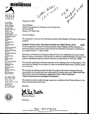 Primary view of [Letter from John Paul Batiste to Nancy Walkup Reynolds, February 18, 2000]