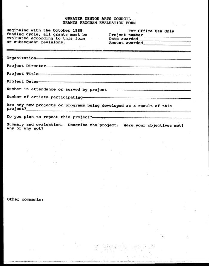 Greater Denton Arts Council Grants Program Evaluation Form [blank ...