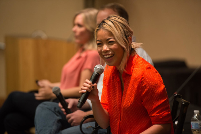 Primary view of object titled '[Jia Tolentino laughing during panel]'.