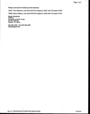 Primary view of [Request for Approval to Travel from Nancy Walkup Reynolds]