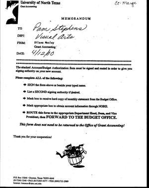 Primary view of [Memorandum from Dilana Mosley to Pam Stephens, April 12, 2000]