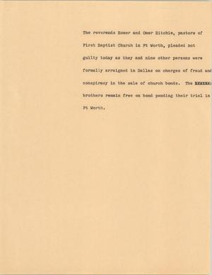 Primary view of [News Script: Ritchie Brothers]