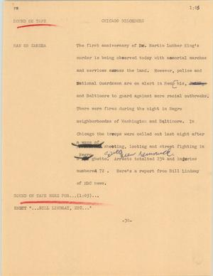 Primary view of object titled '[News Script: Chicago disorders]'.