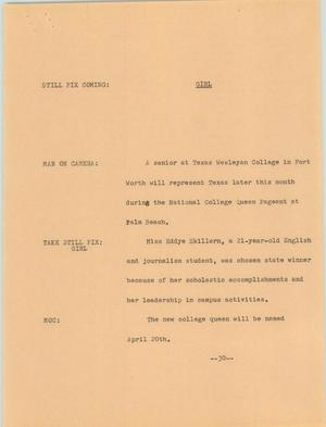 Primary view of object titled '[News Script: Girl]'.