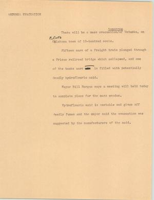 Primary view of object titled '[News Script: Wetumka evacuation]'.