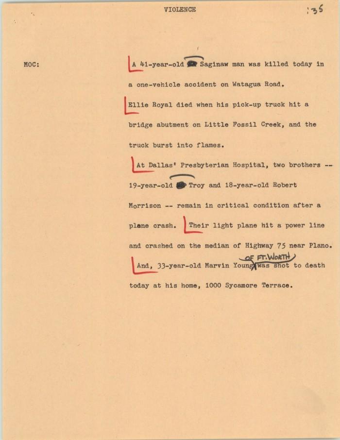 News Script: Violence] - The Portal to Texas History