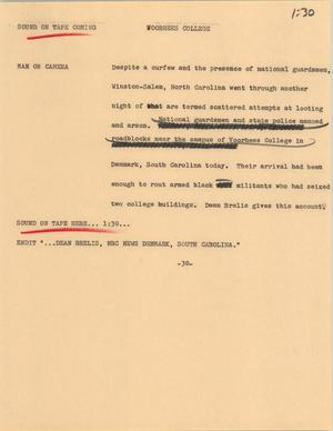 Primary view of object titled '[News Script: Voorhees College]'.