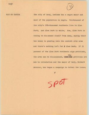 Primary view of object titled '[News Script: Gary]'.