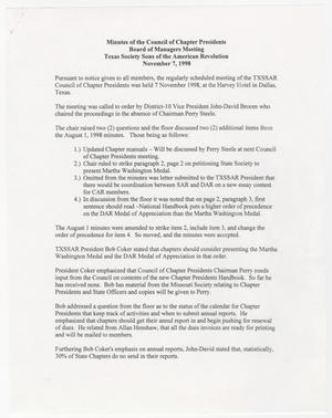 Primary view of object titled '[Minutes for the TXSSAR Board of Managers Meeting: November 7, 1998]'.