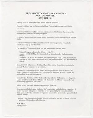 [Minutes for the TXSSAR Board of Managers Meeting: March 4, 2001]
