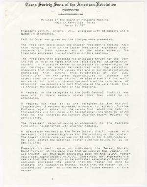 Primary view of object titled '[Minutes for the TXSSAR Board of Managers Meeting: March 8, 1987]'.