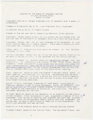 Primary view of object titled '[Minutes for the TXSSAR Board of Managers Meeting: March 13, 1988]'.