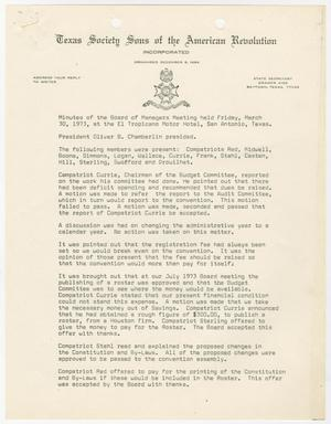 Primary view of object titled '[Minutes for the TXSSAR Board of Managers Meeting: March 30, 1973]'.