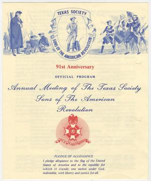 Primary view of object titled 'Annual Meeting of the Texas Society, Sons of the American Revolution, 1987'.