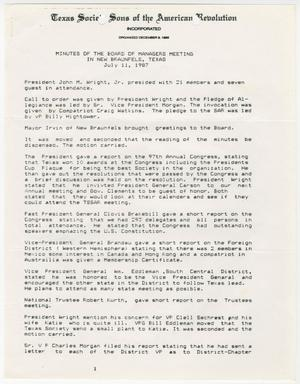 Primary view of object titled '[Minutes for the TXSSAR Board of Managers Meeting: July 11, 1987]'.