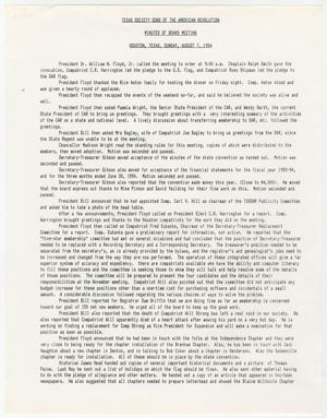 [Minutes for the TXSSAR Board of Managers Meeting: August 7, 1994]