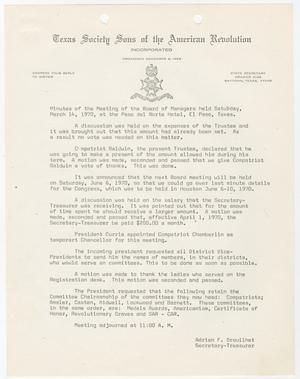 Primary view of object titled '[Minutes for the TXSSAR Board of Managers Meeting: March 14, 1970]'.