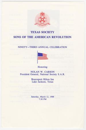 Primary view of object titled 'Annual Meeting of the Texas Society, Sons of the American Revolution, 1988'.