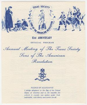 Primary view of object titled 'Annual Meeting of the Texas Society, Sons of the American Revolution, 1980'.