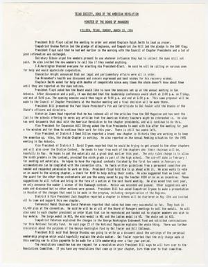 [Minutes for the TXSSAR Board of Managers Meeting: March 13, 1994]