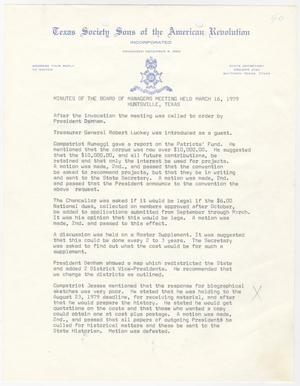 Primary view of object titled '[Minutes for the TXSSAR Board of Managers Meeting: March 16, 1979]'.