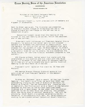 [Minutes for the TXSSAR Board of Managers Meeting: March 6, 1987]