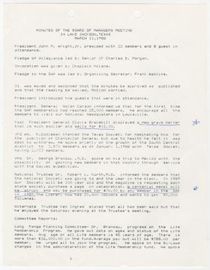 Primary view of object titled '[Minutes for the TXSSAR Board of Managers Meeting: March 11, 1988]'.