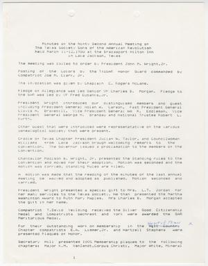 Primary view of object titled '[Minutes for the TXSSAR Annual Meeting: March 11 through 12, 1988]'.