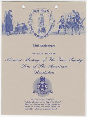 Primary view of object titled 'Annual Meeting of the Texas Society, Sons of the American Revolution, 1989'.