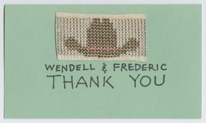 Primary view of object titled '[Cowboy hat thank you card]'.