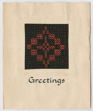Primary view of object titled '[Woven greeting card]'.
