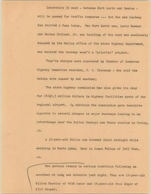 Primary view of object titled '[News Script: I-35]'.