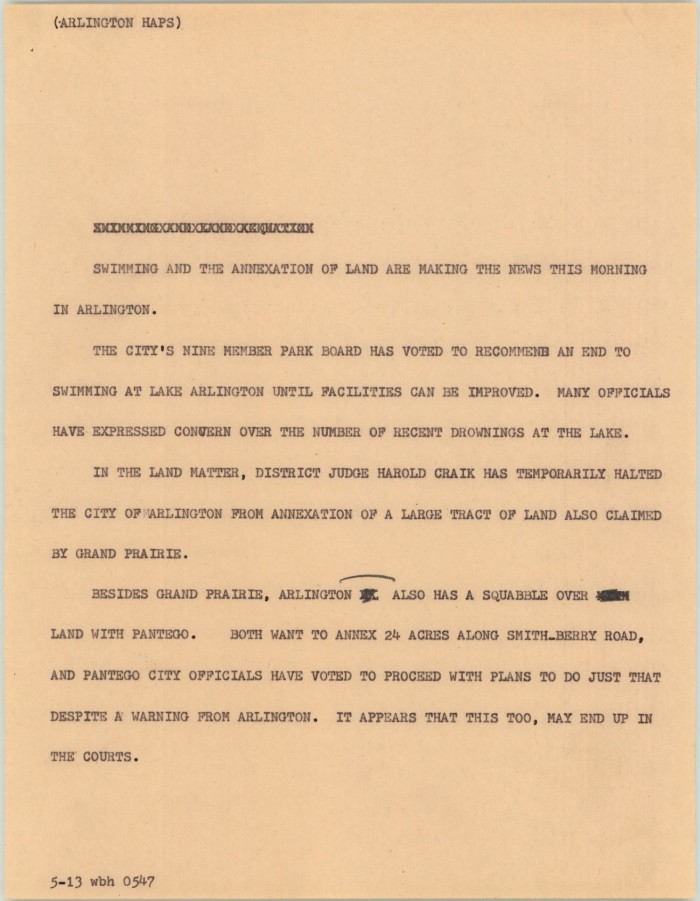 Arlington Tx News >> News Script Arlington Haps The Portal To Texas History