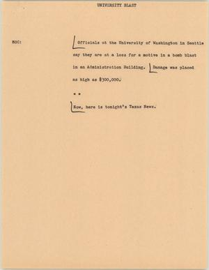 Primary view of object titled '[News Script: University Blast]'.
