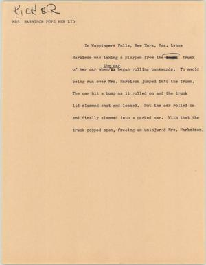 Primary view of object titled '[News Script: Mrs. Harbison pops her lid]'.