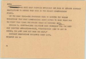 Primary view of object titled '[News Script: Longshoremen strike]'.