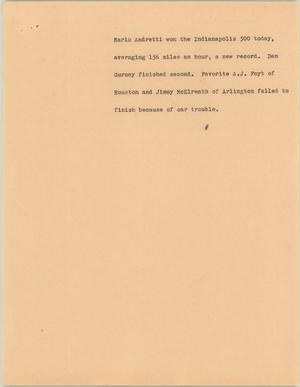 Primary view of object titled '[News Script: Andretti]'.
