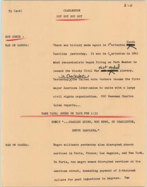 Primary view of object titled '[News Script: Charleston]'.