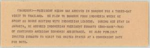 Primary view of object titled '[News Script: Nixon in Thailand]'.