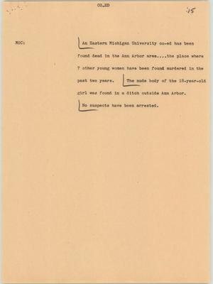 Primary view of object titled '[News Script: Co-Ed]'.