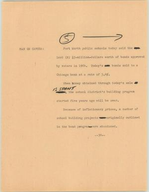 Primary view of object titled '[News Script: FW Bonds]'.