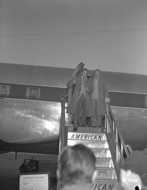 Primary view of object titled '[Bob Hope Exiting a Plane]'.