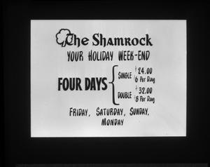 Primary view of object titled '[ Advertisement for The Shamrock's Holiday Weekend]'.