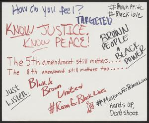 "Primary view of object titled '[White ""Know Justice, Know Peace"" poster]'."