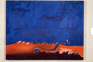 Blue and orange acrylic painting by Claudia Betti, Slides, circa 1955-1982