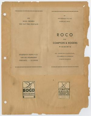 ROCO paint brochure, Art Invoices/Subscriptions