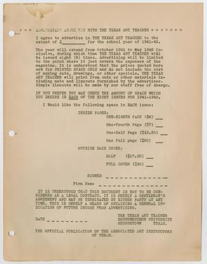 Primary view of object titled '[Advertising agreement]'.
