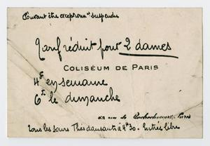 Primary view of object titled '[Ticket from the Coliseum of Paris]'.