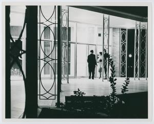 Primary view of object titled '[NTSU music building courtyard at night, 1960s]'.